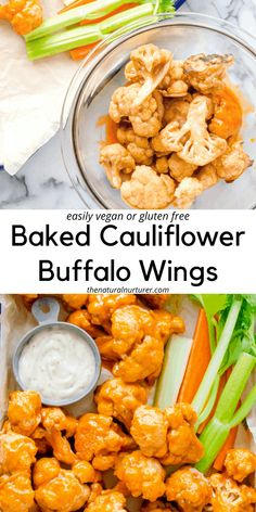 These seriously delicious baked buffalo cauliflower wings are a fun way to eat your veggies! Easily vegan and/or gluten free, these veggie-loaded bites are going to be a hit with any crowd! #veggieloaded Side Recipes, Real Food Recipes, Dinner Recipes, Healthy Recipes, Healthy Foods, Salad Recipes, Healthy Eating, Baked Buffalo Cauliflower, Cauliflower Wings