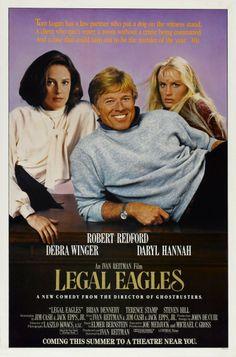 """Legal Eagles"" (1986). COUNTRY: United States. DIRECTOR: Ivan Reitman. CAST: Robert Redford, Debra Winger, Daryl Hannah, Brian Dennehy, Terence Stamp, Steven Hill, John McMartin, Roscoe Lee Browne, Christine Baranski"