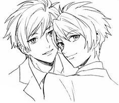 School Clubs, High School Host Club, Hikaru Hitachiin, Hot Anime Boy, Anime Boys, Ouran Host Club, Ouran Highschool, Cute Twins, Drawing Templates