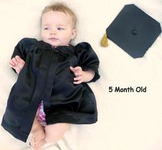 Newborn Infant and Baby Graduation Cap and Gown (Thank you Sally for letting me use your baby as a model!)