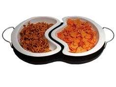 White porcelain 2 pcs snack bowl set with dark wood base at Kitchen Accesories | Ignition Marketing Corporate Gifts