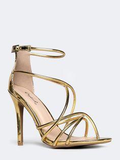 09a7d4b14cfc Strappy Metallic Sandal Gold High Heel Sandals