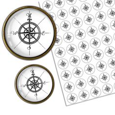 Compass Rose Circle Images Digital Collage Sheets - Bottlecap4u