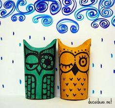 kids crafts owls - toilet paper roll + bingo dabbers with ink + markers = OWL...simple!