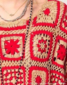 ergahandmade: Crochet Blouse With Motifs Crochet Wool, Crochet Cardigan, Crochet Squares, Crochet Granny, Crochet Stitches Patterns, Crochet Clothes, Crochet Necklace, Knitting, Inspiration