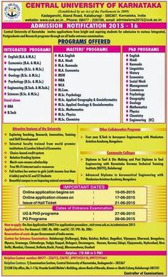 Bonala Kondal: Central University of Karnataka Admission Notifica...