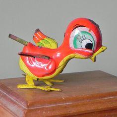 Vintage Tin  bird - vintage toy - rustic. $14.99, via Etsy.