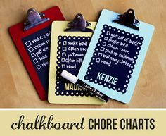 Chalkboard chore charts, all I need is the clipboards!