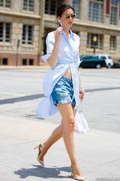 Nini Nguyen Baby Blue Button Up Relaxed Waist Tie Shirt Dress - LoLoBu