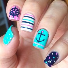 Nautical Nails Walking around my neighborhood and seeing those boats ready to have fun over the sea plus this beautiful weather just inspired me to paint some Nautical nails today. Oh how much I love Spring/Summer days. Too Yacht to Han Anchor Nail Designs, Anchor Nail Art, Nautical Nail Art, Nail Art Designs 2016, Cool Nail Designs, Nautical Anchor, Nautical Nail Designs, Awesome Designs, Blue Nails