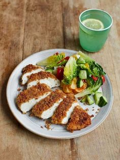 Buddy's crispy chicken   Jamie Oliver recipes Crispy Chicken, Fruit Nutrition, Chopped Salad, Jamie Oliver Quick, Jaime Oliver, Cooking With Kids, Chicken Recipes, How To Cook Chicken, Food Processor Recipes