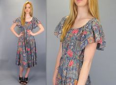 Vintage 70s Flutter Sleeve Blue Floral Print Semi Sheer Midi Below the Knee Boho Hippie Romantic Festival Ethereal Tiered Dress by BlueFridayVintage