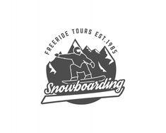 Snowboarding Logo And Label Template Mountain Biking, Badge Design, Label Templates, Vector Photo, Snowboarding, Retro Vintage, Mountains, Logos, Ideas Para