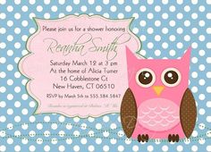 Owl Shower Invitation Owl Baby Shower by SweetBeeDesignShoppe