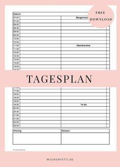 Tagesplan für weniger Stress - mit Platz für Routinen - Printable   Miss Konfetti