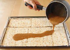 Making Passover chocolate toffee matzo