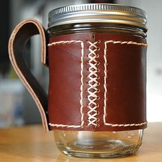 Handmade Leather Mason Jar Sleeve on Etsy, $25.00