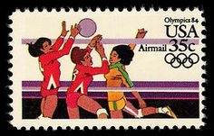 Women's volleyball, featured on this 1984 Summer Olympics stamp, has been a feature of the Games since 1964.