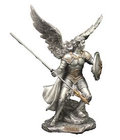 """Archangel Raphael Healing Statue Pewter Style Veronese Collection Made of resin and measures at 9"""" tall Hand painted in a beautiful pewter style finish with gold details. Very high quality gift and is"""