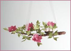 Rich Pink English Garden Tree Limb by fischtaledesigns on Etsy, $165.00