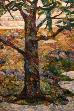 This landscape art quilt by Murray Johnston is pictured on her Artist Statement web page, and is representative of her other works. She is a gifted artist working in the medium of fabric and thread. Go to her website to see more of her amazing quilts.