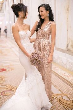 {Rose Gold Beauties} Stunning bridal gown but Oh my, am I ever in love with these rose gold sequined bridesmaid dresses! Photo Credit | Jana Williams Photography