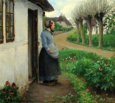 Hans Anderson Brendekilde - Worn Out Hans Andersen Brendekilde - A girl is looking at a hen with chickens.