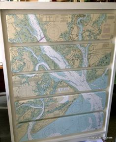 Mod Podge Map Dresser - Upgrade a dresser or other flat piece of furniture. One large map + dresser + mod podge = fresh look. Furniture Fix, Repurposed Furniture, Furniture Projects, Furniture Makeover, Painted Furniture, Diy Projects, Decoupage Furniture, Decoupage Ideas, Rustic Furniture