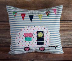 Item #8. Camper Pillow. Glamping Decor. Vintage Camper Pillow. Camping decor. Camping Pillow. Pillow with Camper. Blue Ticking Stripe Fabric