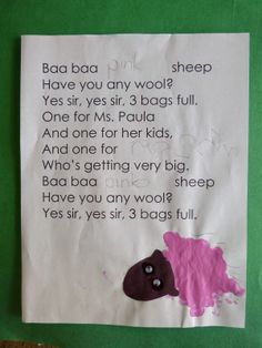 Paula's Preschool and Kindergarten: Baa Baa Colorful Sheep, and a FREE download from TpT