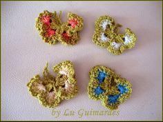 Artesanato com amor...by Lu Guimarães: Borboletas em crochê