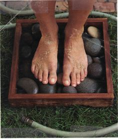 What a cute idea to create a foot wash station.