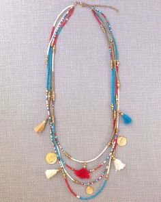 Seed Bead Necklace Turquoise Tassel Necklace Boho Bohemian Statement Turquoise Tribal Gold Seed Bead Statement Necklace by MaiKiwi on Etsy https://www.etsy.com/listing/200602009/seed-bead-necklace-turquoise-tassel