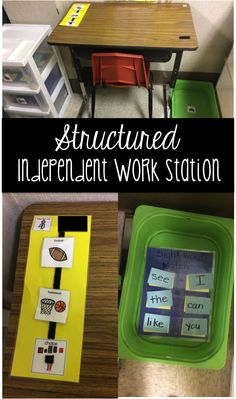 Step by step, easy to implement work station for the special or general education classroom. - This teacher explains how she set up the independent work stations in her classroom. Life Skills Classroom, Autism Classroom, Autism Activities, Classroom Activities, Classroom Ideas, Classroom Organization, Autism Resources, Classroom Management, Tips