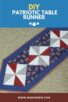 Patriotic holidays are coming, and this easy table runner will provide a festive base for your table or buffet for an outdoor meal or breakfast in the kitchen. The blocks are 8-inches finished, set on point, and the runner measures 12 x 38 inches finished. Sewing Blogs, Sewing Tutorials, Outdoor Food, Tablerunners, Embroidery Stitches, Projects To Try, Patches, Quilts, Make It Yourself
