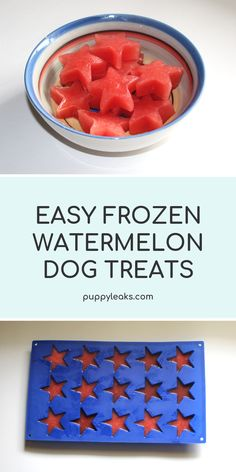 I love making dog treats, and this frozen watermelon dog treat recipe is one of . Dog Biscuit Recipes, Dog Treat Recipes, Dog Food Recipes, Homemade Dog Cookies, Homemade Dog Food, Pet Treats, Healthy Dog Treats, Diy Pet, Frozen Dog Treats