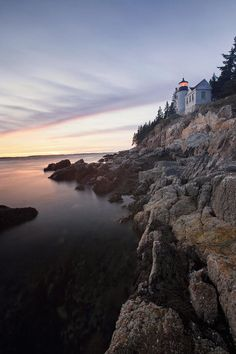 ✯ Lighthouse on a Cliff at Sunset, Bass Harbor, Maine