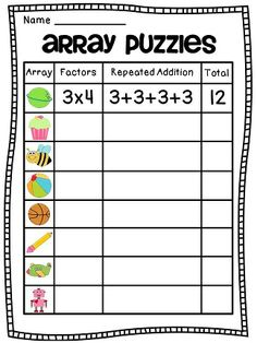 Array Puzzles Math Center - so much fun!! Lots of arrays practice worksheets math centers and activities