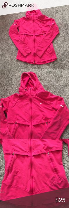 Nike Pink Zip Up Running Workout Hooded Jacket Super cute pink Nike running jacket with optional hood. The pockets are nice and big with zips to secure your keys or cards. Size medium in great condition lululemon athletica Jackets & Coats Utility Jackets
