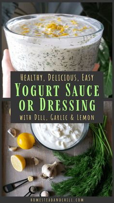 As An Alternative To Sour Cream, This Healthy Yogurt-Based Sauce Is Zero-Guilt And 100 Delicious It Is Loaded With Flavor, Easy To Make, And Goes Perfectly With Countless Meals. Use It As A Dipping Sauce, Or Even A Salad Dressing Garlic Yogurt Sauce Recipe, Lemon Dill Sauce, Lemon Yogurt, Yogurt Spread Recipe, Lemon Dill Dressing Recipe, Creamy Dill Sauce, Garlic Sauce, Recipes, Diet