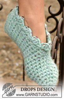 DROPS Crochet slippers in Eskimo ~ DROPS Design FREE Pattern