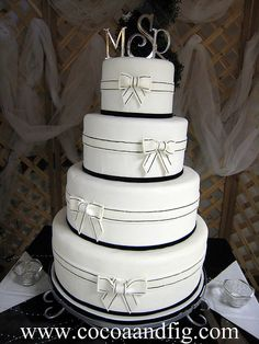 Black & White Bows Wedding Cake by cocoa & fig, via Flickr