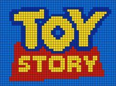 Alpha friendship bracelet pattern added by forky toystory toy story trash bonnie Disney Cross Stitch Patterns, Cross Stitch Designs, Graph Crochet, C2c Crochet, Toy Story Crafts, Modele Pixel Art, Pearl Beads Pattern, Pixel Art Grid, Pixel Drawing