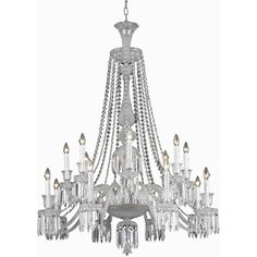 """Majestic 42"""" Crystal Foyer Pendant Chandelier with 16 Lights - Chrome Finish and Clear Crystal"""