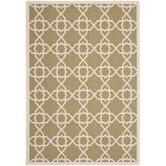 Put this down recently, it's actually greener than in the picture. @Overstock - This outdoor rug has a brown background and displays stunning panel color of natural. This power-loomed rug is resistant to mold, mildew, sun, water and other elements.http://www.overstock.com/Home-Garden/Poolside-Green-Beige-Indoor-Outdoor-Rug-8-x-112/6624841/product.html?CID=214117 $186.14
