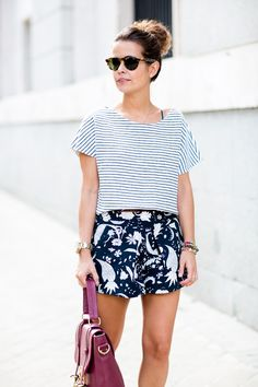 printed shorts & striped top.