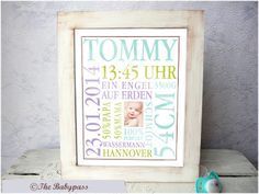 """Baby Urkunde """"Shabby""""  zur Geburt/Taufe Jungen von THE BABYPASS auf DaWanda.com"""