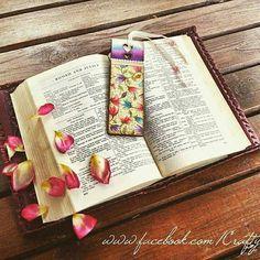 Handmade bookmark decorated with napkins decoupage bookmark