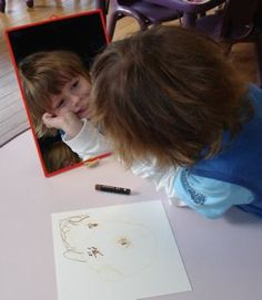 using a mirror to draw a self portrait