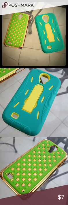 Set of 2 Samsung Galaxy S4 Phone Cases One lime green and gold-tinted phone case. One teal and sunshine-yellow phone case w/ a kickstand. Both new. Accessories Phone Cases